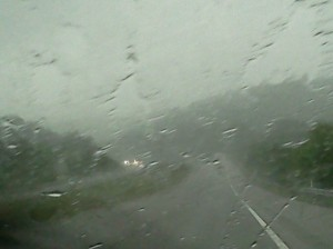 Heavy rain storm on the way to Nashville, TN.